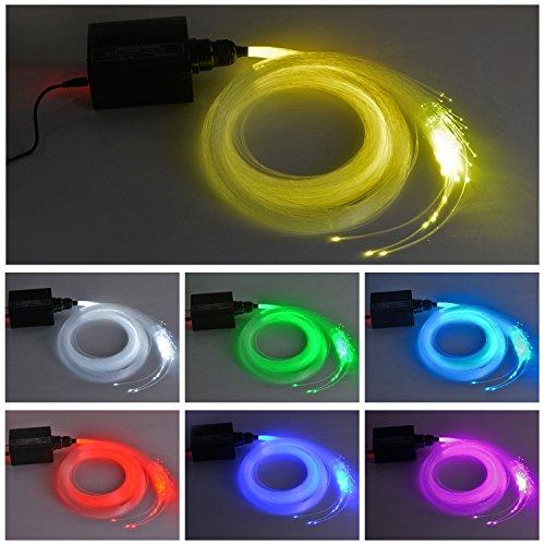 Dewel Glasfaser LED Licht, Rgbw LED Glasfaser Licht Sternenhimmel LED Glasfaser 150 Lichtfasern mit Infrarotfernbedienung Sternenhimmel Beleuchtung in 7 Farben, 0,75 mm, 2m