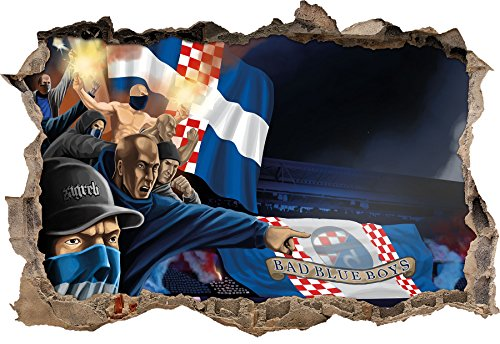 Ultras Kroatien Bad Blue Boys, 3D Wandsticker Format: 62x42cm, Wanddekoration