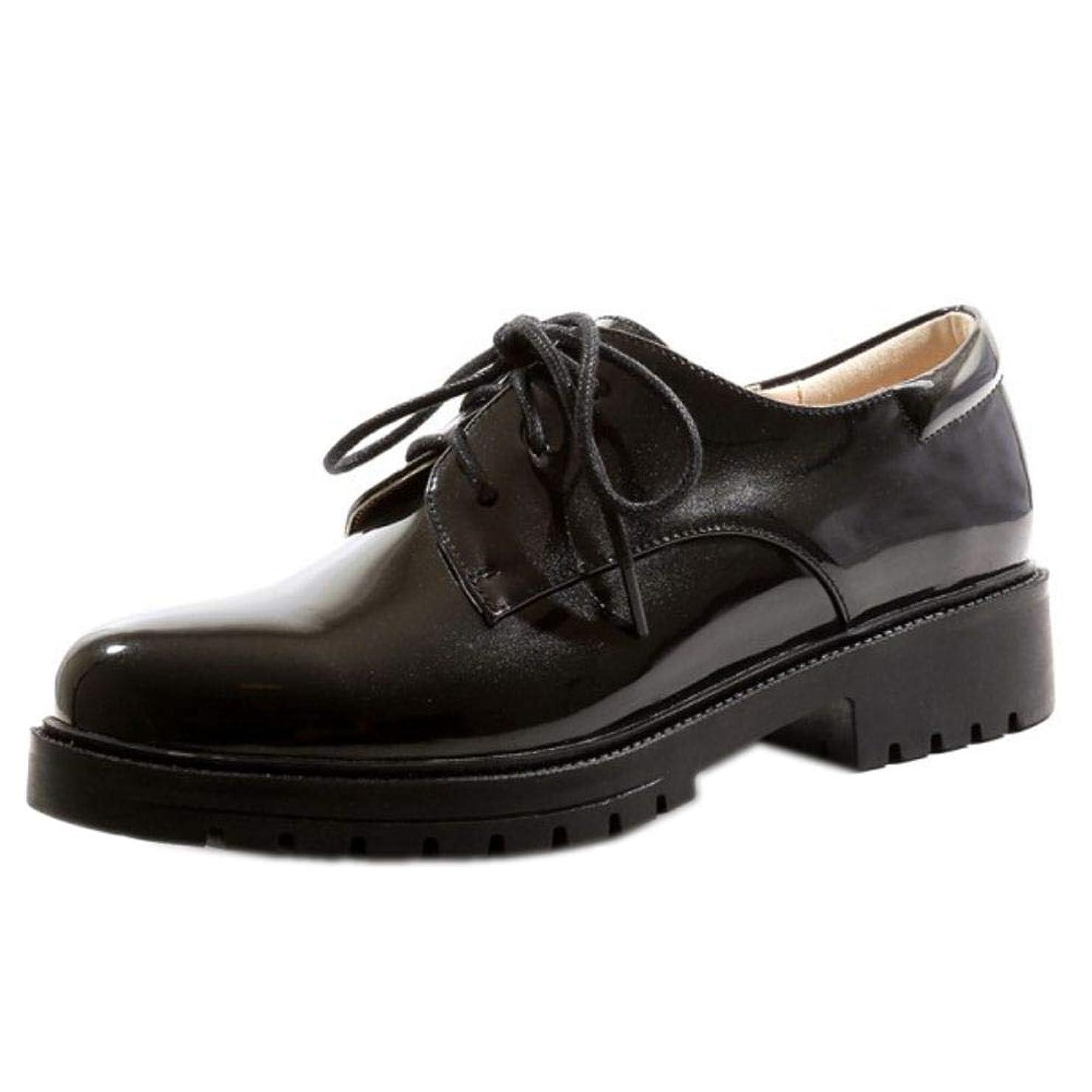 サイレン怠惰期待する[タオフェン] レディース ファッション レースアップ シューズ ローヒール 日常 おじ靴