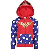 DC Comics Wonder Woman Little Girls French Terry Costume Long Sleeve Hoodie Red 5