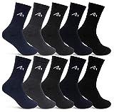 10 pares de calcetines deportivos i1R para hombre y mujer, calcetines de tenis, algodón, blanco y negro 10 pares. 47-50