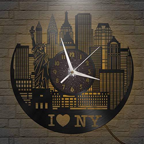 I Love New York Elements - Reloj de Pared con Registro de Vinilo de 12 Pulgadas, Reloj de Pared de Vinilo para Cocina, hogar, Sala de Estar, Dormitorio, Escuela (C), con LED, Regalo de cumpleaños par