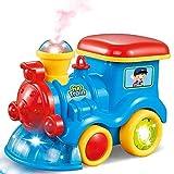BAKAJI Trenino Treno Locomotiva Giocattolo Bambini con Movimento Mistero Bumb e Go Fumo Vapore Vero Giochi di Luce ed Effetti Sonori Gioco Prima Infanzia a Batteria Dimensione 13 x 20 x 11 cm