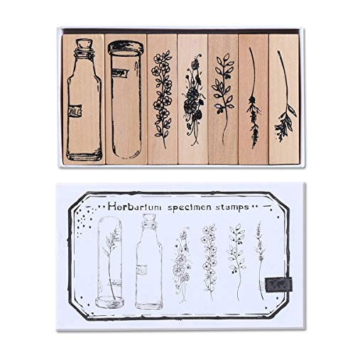 UCEC 7 Pieces Vintage Wooden Rubber Stamps, Plant and Flower Decorative Wooden Rubber Stamp Set, Wood Mounted Rubber Stamps for Card Making, DIY Crafts, Scrapbooking