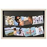 HAB & GUT -FR030- Marco con 8 Pinzas y 2 Cuerdas, 50 x 33 cm, Collage, galería, tendedero para Fotos