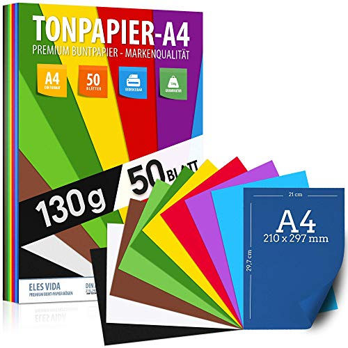 50 Blatt Tonzeichenpapier DIN A4 – 130 g - 10 Farben – Festes Papier - Farbige Blätter für Schule, Hobby - Kinder & DIY Bögen, Bastel Zubehör - Kopierpapier, Geschenke, Buntpapier - AUS DEUTSCHLAND