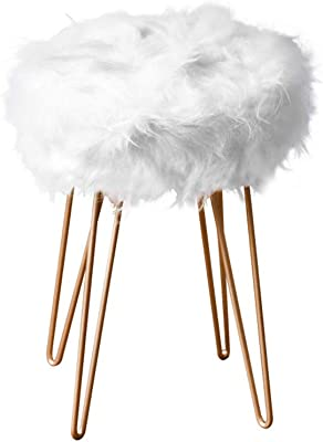 Amazon Com Teens Faux Fur Stool Cute Vanity Stool Chair