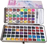 Juego de pintura acuarela sólida 90 colores + 1 pincel de pintura, color metalizado convencional, portátil comprimido, ideal para profesionales principiantes