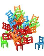 Jenilily 椅子ゲーム パズル 積み木 バランスゲーム スポーツスタッキング バランシング 積み重ねる ゲームセット 知育ゲーム 学習 子供 キッズ おもちゃ ミニ カラフル プレゼント 18ピース