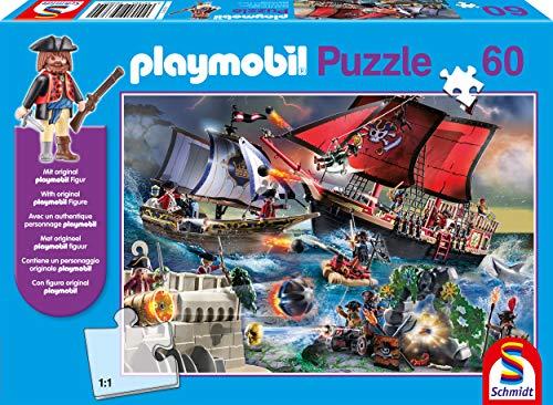 Schmidt Spiele 56382 Playmobil, Piraten, 60 Teile Kinderpuzzle, mit Original Figur, bunt