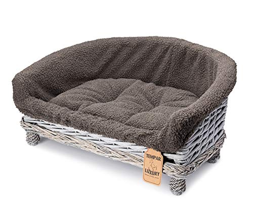 Tempar Luxury Handmade Half Moon Luxury Wicker Pet Cat Dog Sofa Couch Cushion Blanket Beds - FREE Replacement Cushion and Cover (Large, Dark Grey)
