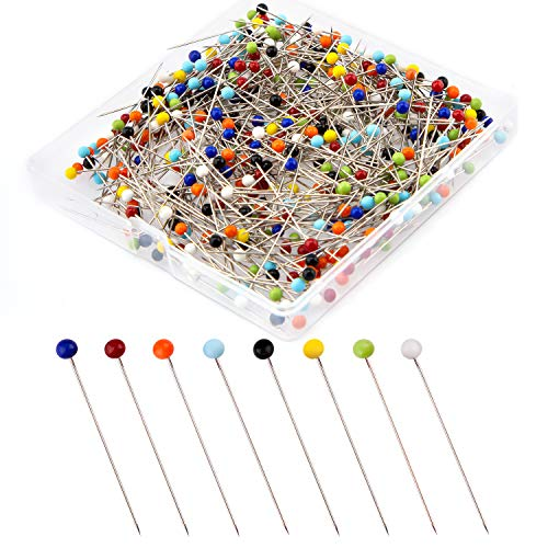 AIEX 500 Piezas Alfileres de Costura Bola de Cristal Alfileres Con Cabeza de Colores Pines de Cabeza para Manualidades de Costura DIY Modista(38mm)