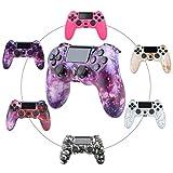 QLOVE Mando PS4, Controlador inalámbrico para Playstation 4/Pro/Slim/PC, Controlador de Juegos con Panel táctil con vibración Dual de Seis Ejes y Conector de Audio,Purple Sky