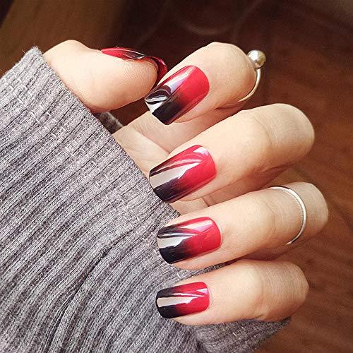 TJJF 24 pièces noir et rouge dégradé 3D bricolage style de mode en plastique art court faux faux autocollant ongles conseils avec gel de colle
