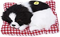 Simulation Lovely Dog That Make Sounds Doll Cute Sleeping Plush Dog Puppy on Mat Stuffed Puppy Animals Toy Birthday Gift Decorations Furnishing Article and Craft,1Pcs Sleeping Dog with A Mat