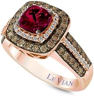 LeVian Ring Rhodolite Garnet Chocolate White Diamonds 2.03 cttw 14k Rose Gold