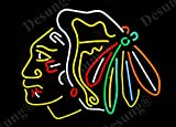 Desung 20'x16' Chicago Sports Team Blackhawk Logo Indian Neon Sign (VariousSizes) Beer Bar Pub Man Cave Business Glass Lamp Light DC266