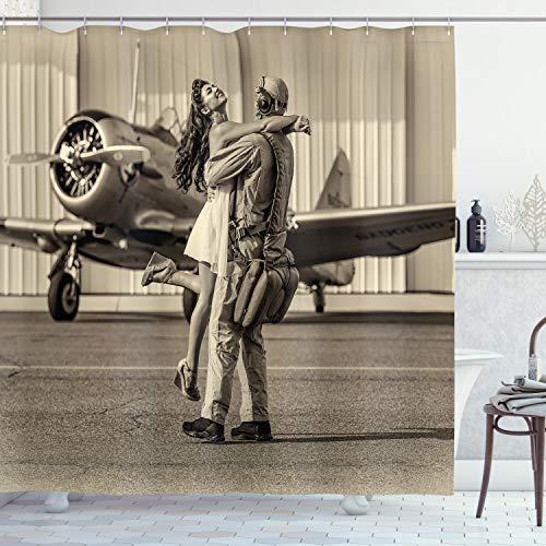 ABAKUHAUS Weinlese-Flugzeug Duschvorhang, Heimkehr, Bakterie Schimmel Resistent inkl. 12 Haken Waschbar Stielvoller Digitaldruck, 175 x 200 cm, Sepia