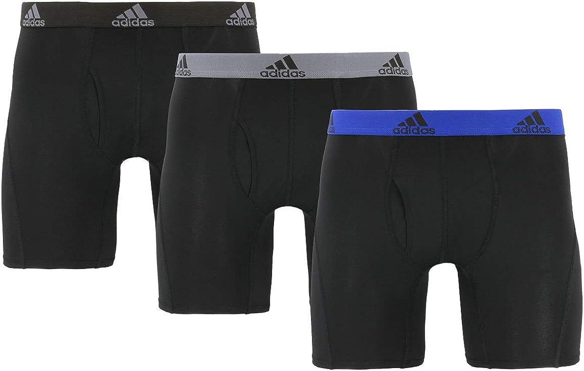 adidas Men's Performance Boxer Brief Underwear (3-Pack) (Black/Black, Gray/Black, Blue/Black, Large)