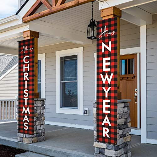 KENPMA Christmas Buffalo Plaid Decorations Outdoor Front Porch Sign - Xmas Modern Farmhouse Décor Banners - Merry Christmas Happy New Year Red Banner for Indoor Home Living Room Kitchen Wall Party