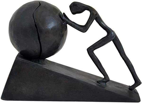 Man With Sphere Iron Statue Metal Sculpture Sportsman Art Metal Ornament Figurine Home And Office Decor B2 Strong