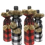 SHANGXING 4 PCS Christmas Buffalo Plaid Wine Bottle Cover- Christmas Sweater Wine Bottle Cover,Champagne Holder Bottle Dress Sets for Xmas Thanksgiving Party Dinner Ornament