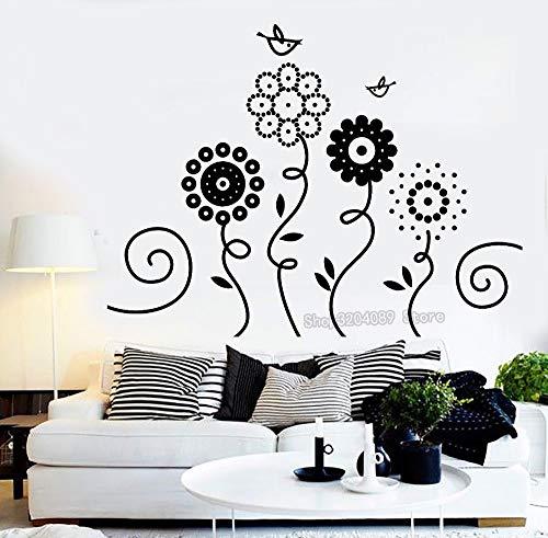 jiushivr Vinilo Adhesivos de Pared Calcomanías Sofá Fondo Decoración para el hogar Sala de Estar Dormitorio Flores Jardín Aves Naturaleza Arte Impermeable Murales 75x56cm