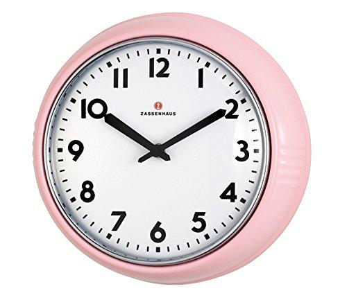 Zassenhaus Retro-wandklok, Ø 24 cm, roze, aluminium, 26 x 8,5 x 25 cm