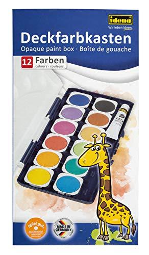 Idena 22061 Deckfarbkasten mit 12 Farben und 1 Tube Deckweiß, ideal für Kindergarten, Schule und zu Hause