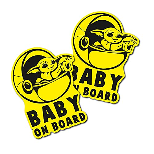 [2Pcs] YELLOW, Funny baby on board, car decal, car stickers, baby on board sticker for cars, baby...