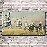 Lienzo de arte de pared 70x140cm sin marco soldados de guerra campana de aterrizaje helicópteros de caballería de Vietnam carteles cuadro de pared decoración de la sala de estar del hogar dormitorio