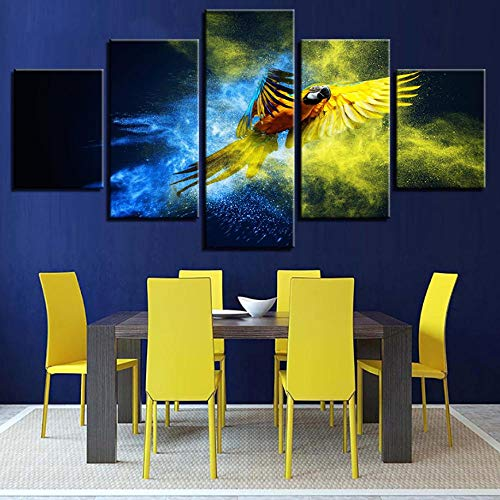 Canvas HD Prints Pictures Wall Art Living Room Home Decor Poster 5 pezzi Parrot Trees Parrot Wings Paintings40x60cmx2 40x80cmx2 40x100cmx1