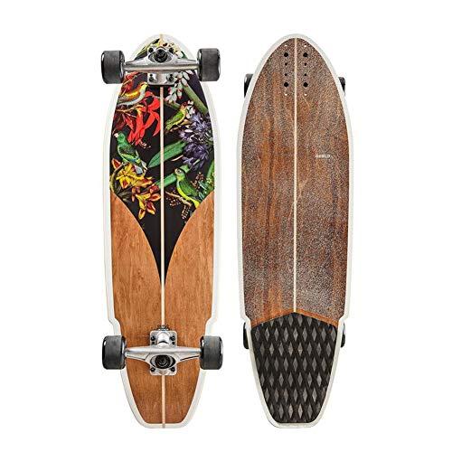TIANDU Skateboard 32' Carver Surfing Skateboard Professional Carver Surfboard, 7 Canadian Maple Deck, City Road Land Cruiser Complete, Suitable for Adults, Children, Girls