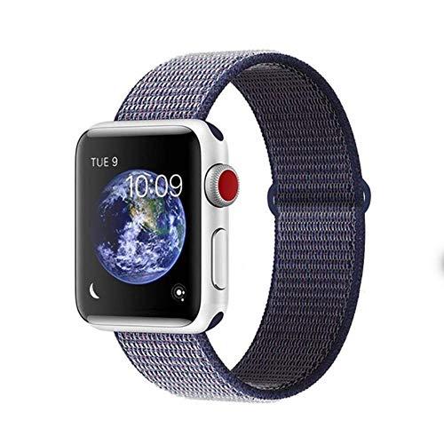 AISHANG Cinturino per Apple Watch Series 3 2 1 38 Mm 42 Mm Cinturino di Ricambio in Nylon Morbido E Traspirante per Serie Iwatch 4 5 6 Se 40 Mm 44 Mm, 40 Blu Notte, per 42 Mm E 44 Mm