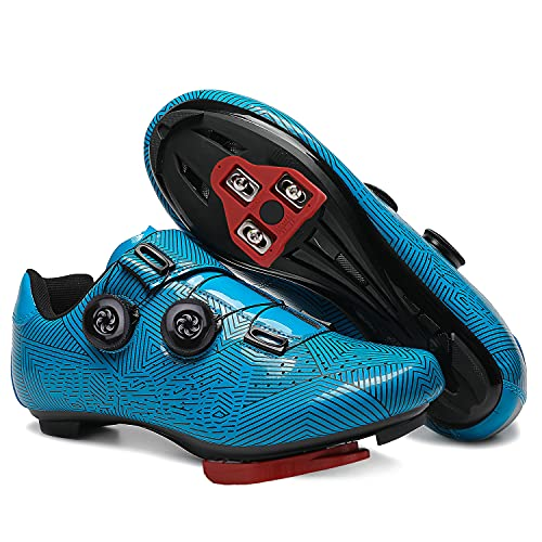 GENAI Men Road Bike Shoes Women Cycling Shoes Included Look Cleats(Combination Set) Compatible with Look SPD/SPD-SL for Outdoor/Indoor Cycling Exercise Shoes Blue Stripes