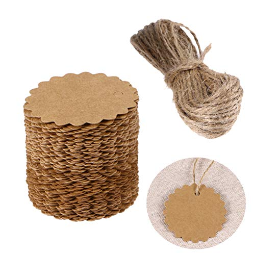 VORCOOL 100pcs 60mm Round Scalloped Kraft Paper Card/Gift Tag/DIY Tag/Luggage Tag/Price Label with 10M Jute Twine (Brown)