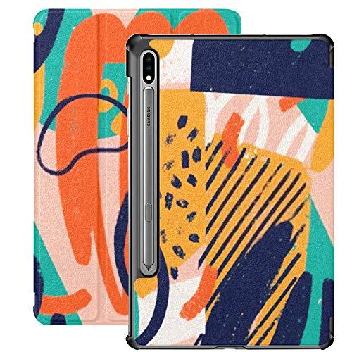 Galaxy Tablet S7 Plus Funda de 12,4 Pulgadas 2020 con Soporte para bolígrafo S, Creative Doodle Art Patrón sin Costuras Funda Protectora de Folio con Soporte Delgado Diferente para Samsung