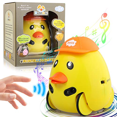 LAKIBOLE Baby Toddler Companion Sound Toy Car Pet, Aiintelligent Sensor Sound Toys Car Interactive Learning Gift for 18-Month 2 3 4 5 Year Olds Infant Kids Boy Girl - Duck