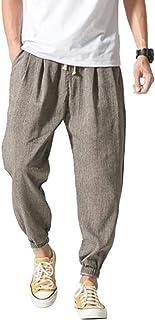 Vanvene - Pantaloni casual da uomo in lino e cotone, leggeri e larghi, da spiaggia, yoga, gamba ampia