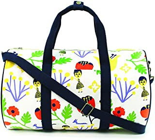 Medium Size Duffel Bag - Design by OOHLALA - Made in Korea - IPLAYBOX (White with Flowers)