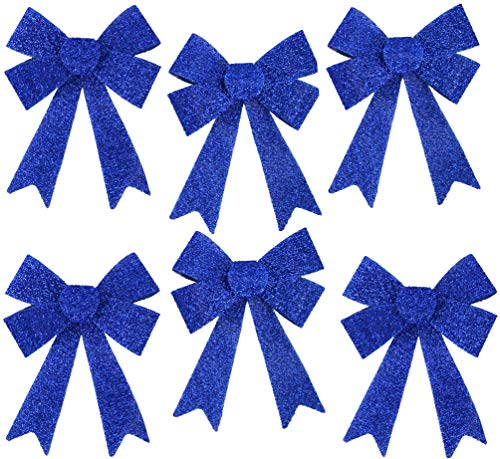 Iconikal Luxury No-Mess Glitter Christmas Bow 9 x 12-inches, 6 Pack - Blue