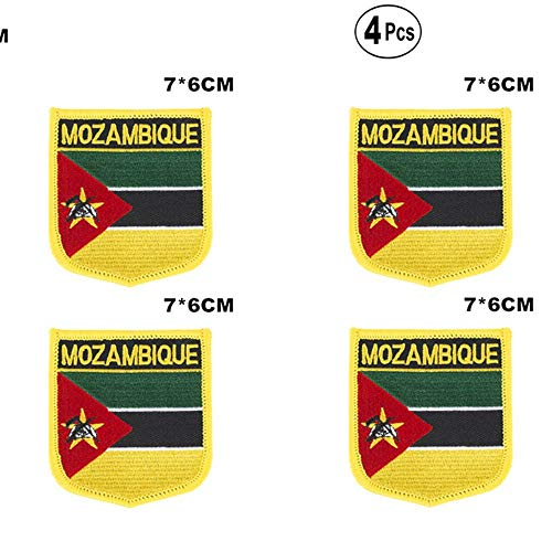 Mozambique Shiled Shape vlag patches nationale vlag patches voor Cothing DIY Decoratie