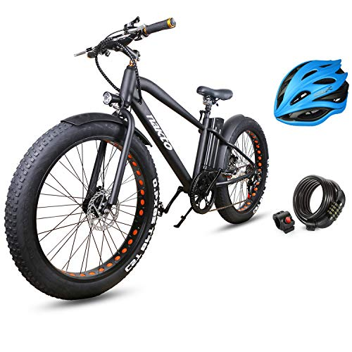 """NAKTO 26"""" 350W Fat Tire Electric Bicycle Mountain Snow Beach Sporting Shimano 6 Speed Gear EBike Brushless Gear Motor with Removable Waterproof Large Capacity 36V10A Lithium Battery and Battery Charge"""