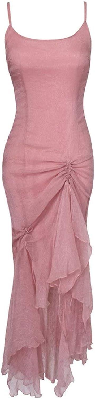 MayRainbowstore Women Summer Midi Dress Sexy Pink Pastel Party Ruffle Asymmetrical Backless Flounce Hem Drawstring Spaghetti