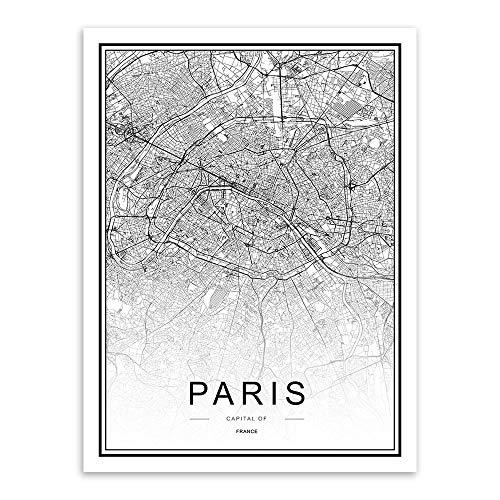WDQTDW Leinwanddruck Schwarz Weiss Custom Welt Stadtplan Paris Poster Nordic Wohnzimmer Wand Kunst Bilder Home Decor Leinwand Gemälde