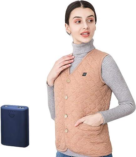LYY Gilet Chauffant électrique, Lavable USB Charge chauffée Cheveux Camel vêteHommests Hiver Chaud Gilet (Chameau)