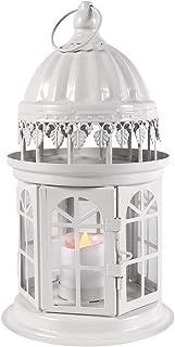 QHYK Faroles para Velas, Farol Decorativo con Vela LED sin Llama, Metal Lantern de decoración de la Boda del jardín para Exteriores o Interiores, Materiales Mesistentes a la Intemperie, Blanco