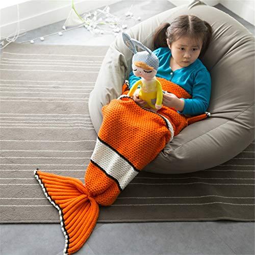 Bestmemories Manta de cola de pez suave para niños, saco de dormir para niños, Nemo, cola de pez, de punto, cómoda, acogedora, súper suave y cálida manta