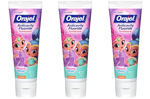 Orajel Shimmer and Shine Berry Divine Anticavity Fluoride Toothpaste, 4.2 oz (Bundle of 3)