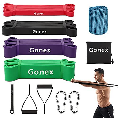 Gonex Elastici Fitness Resistenza , 4 Fasce Elastiche Palestra con Maniglia , Bande Elastiche...